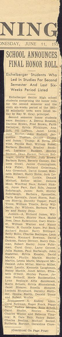 Final Honor Roll for the 1951-52 school year